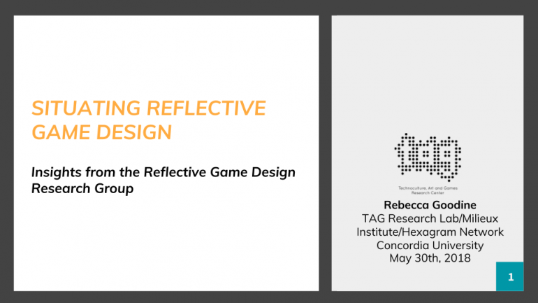 Situating Reflective Game Design @ CGSA 2018 - Technoculture