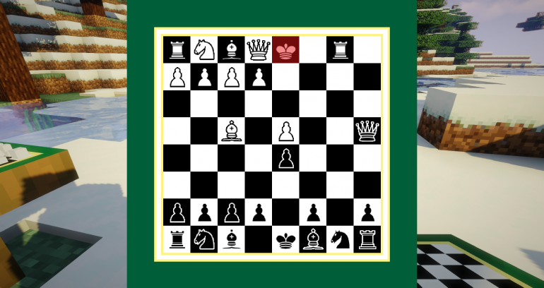 A two-dimensional chess board user-interface with a three-dimensional Minecraft world in the background.