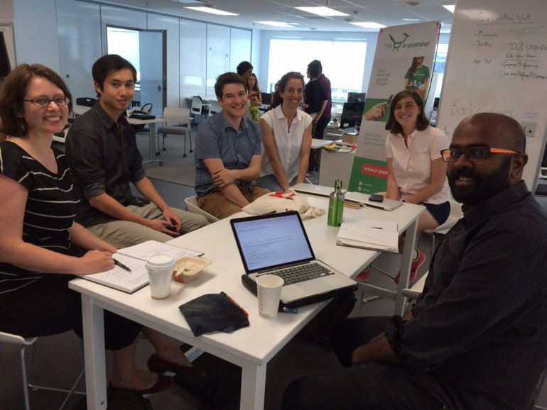 Project team assembled on July 7th 2015. From left to right: Felicity Taylor (PhD Candidate in Fine Arts), Brian Li (designer), Will Robinson (PhD student in Game Studies), Kathryn Jezer-Morton (MA student & ethnographer), Sydney Warshaw (law student), Prem Sooriyakumar (Knowledge Broker, Concordia University). Photo by Olivier Charbonneau, project leader and Associate Librarian, Concordia University.