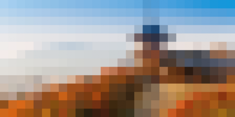 a pixelated photgraph of kyoto in the fall
